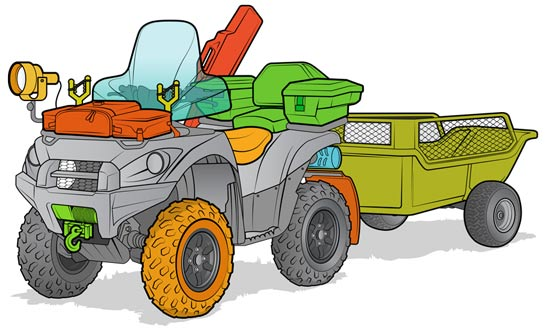 A properly outfitted ATV for serious hunters.
