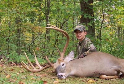 A big buck taken by a young Tristin Scudder. (Photo courtesy of Tristin Scudder)