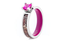 Women's Realtree Camo Engagement Ring with Pink Sapphire and Matching Interior Preview