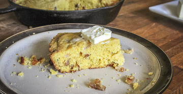 This cornbread gets a smoky flavor from cooking on the Traeger Grill.