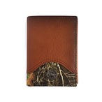 Realtree Burnished Leather Brown Trifold Wallet with Realtree EDGE Camo
