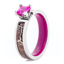Women's Realtree Camo Engagement Ring with Pink Sapphire and Matching Interior