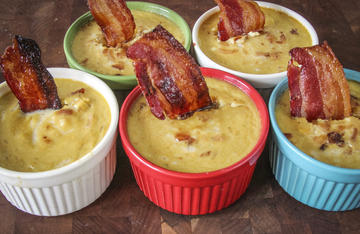 Candied bacon pairs well with the sweet and tropical flavor of the pawpaw in this baked custard.
