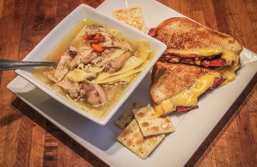 Rabbit Noodle Soup and a venison bacon and grilled cheese sandwich make a wild game meal everyone will love.