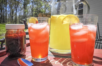 Use your red bud syrup to sweeten summertime drinks.