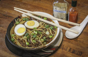 Pair the slow cooked venison with cooked spaghetti and top with diced green onions and hard boiled eggs.