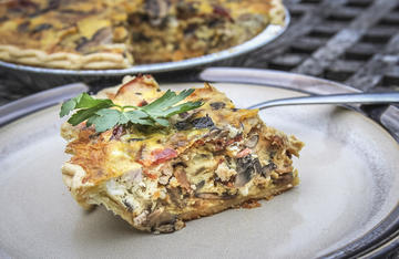 Chock full of wild turkey breast, bacon, onions, mushrooms and cheese, this quiche will keep you going for a full day in the woods.