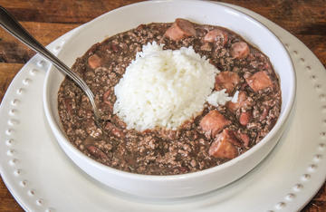Serve the venison and sausage red beans with a big scoop of white rice.