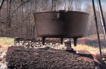 """A 12"""" Lodge Dutch Oven is perfect for feeding a hungry deer camp."""