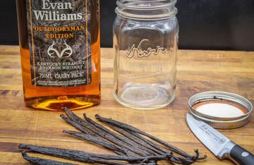 Add an extra layer of flavor to your baked goods by making your own vanilla extract from Evan Williams Outdoorsman Edition Bourbon.
