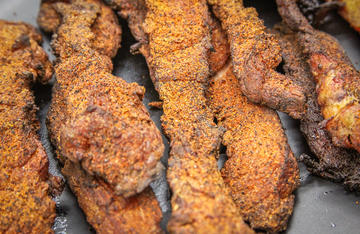Sweet and salty, with just the right amount of heat, this catfish belly jerky makes a delicious and interesting snack.