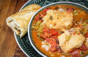 This spicy fish stew with a fancy-looking name is a Cajun favorite.