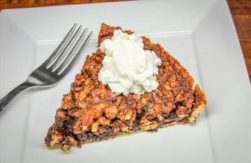Rich hickory nut flavor combines with sorghum and bourbon in this perfect fall dessert.