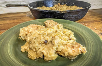 Crispy pan-fried wild turkey breast smothered in onion gravy is always a favorite.