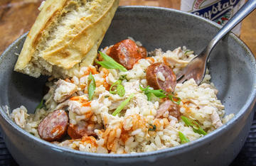 Wild turkey and smoked sausage combine with rice to make a tasty dish that will feed a crowd.