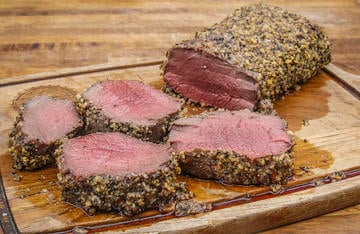 Even those who don't care for mayo will enjoy the flavorful crust it forms when combined with Montreal steak seasoning on this juicy grilled backstrap.
