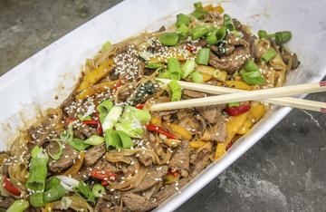 Venison and noodles combine with fresh peppers to give this take out favorite a wild game twist.