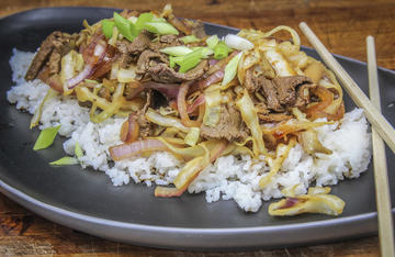 Tender venison, sweet red onion, and crunchy cattail stalks combine to make this unusual stir fry dish.