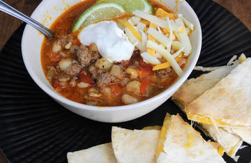 An easy and hearty soup packed with ground venison, hominy, and Southwestern flavor.