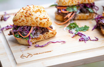 Braised meat is perfect for these cherry chutney sliders topped with a tangy slaw