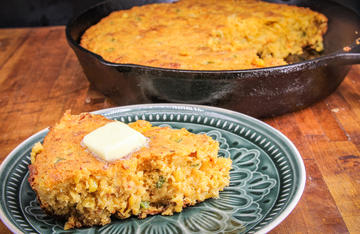 Full of crawfish tails, peppers, onions, and other Cajun flavors, this cornbread is hearty enough to be a main course.