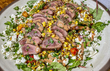 Pair your garden bounty with thinly sliced backstrap, topped with a tangy vinaigrette