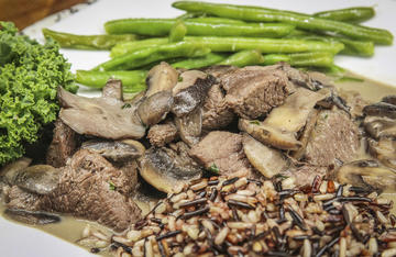 This recipe featuring tender backstrap steak bites in a red wine mushroom cream sauce is always a hit with the moms in our lives.