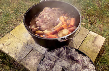 A long, slow cook in the the Dutch oven is the perfect way to turn a beaver hindquarter into a delicious camp meal.