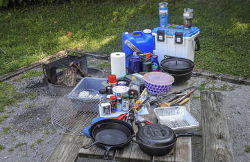 Our camp kitchen has seen years of use. Let us know what you pack in yours.