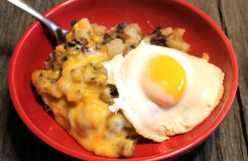 Topped with an over easy fried egg, this hash makes a perfect pre-hunt breakfast that will stick with you all day.