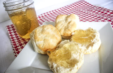 Dandelion jelly is the perfect topping for a fresh-from-the-oven biscuit.