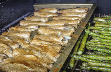 The Traeger Grill makes for a perfectly done, slightly smoky fish.