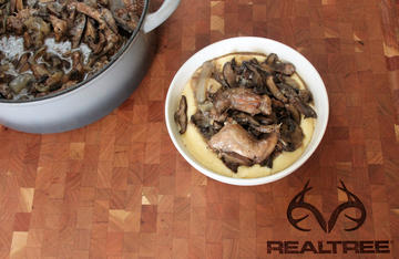 Spoon the tender squirrel along with plenty of mushrooms and sauce over a bowl of creamy, cheesy grits.