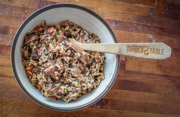 Cajun Squirrel Dirty rice gets extra flavor from the squirrel hearts and livers.