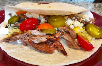 Roasted duck legs and thighs make easy and delicious breakfast tacos.