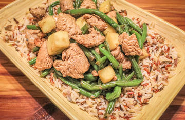 Savory wild turkey breast, crisp sweet apples, green beans, and crunchy pecans team up in a Thanksgiving inspired dish with Asian style.