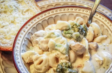 Creamy turkey and broccoli with cheese filled tortellini in a cheesy sauce, the perfect weeknight meal for the entire family.