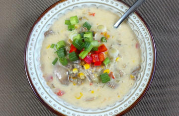 Thick, rich and cheesy, this soup is a great way to use wild turkey legs and thighs.