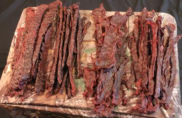 Four styles of finished jerky.