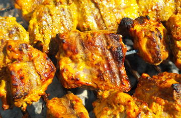 Grill the Tandoori Venison Kabobs two to three minutes per side.