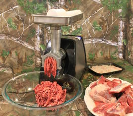 The first step in making homemade chorizo is to grind the pork.