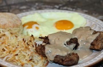 Chicken-Fried Backstrap with Gravy makes an excellent dinner, or breakfast, or breakfast for dinner.