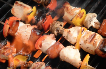 Grilled Wild Turkey and Sausage Skewers, easy, fast and delicious, either in camp or at home.