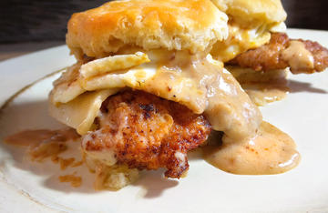 A perfect meal to fill an empty stomach after a long morning in the turkey woods, Cajun Fried Turkey Biscuits and Gravy are a quick fix at home or camp.