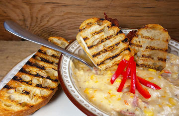 Serve the Wild Turkey Corn Chowder with a sandwich to make it a hearty meal.
