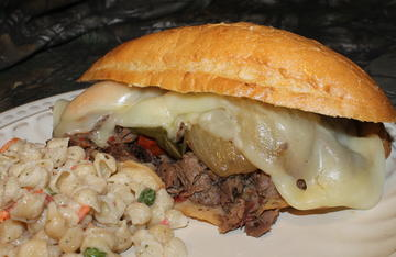 Smoked venison neck roast makes for a tasty Philly Cheesesteak style sandwich.
