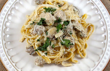 Try the Can Cooker Wild Turkey and Mushroom Fettuccine at home or at camp for a quick and easy meal the whole family will love.