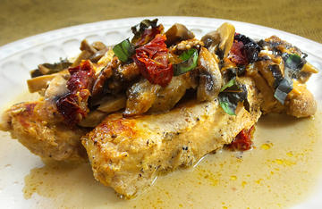 Rich and decadent, this Wild Turkey with Sun Dried Tomatoes and Mushrooms in cream sauce is a surefire, easy to make, crowd pleaser.