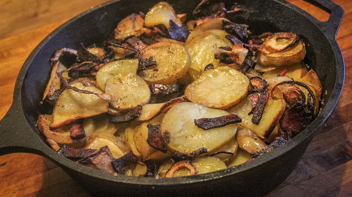 Traeger Grilled Potatoes with Venison Bacon Recipe Preview Image
