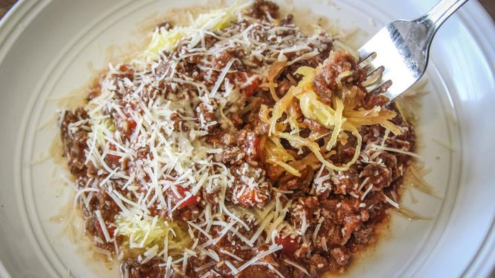 Low Carb Venison Meat Sauce Over Roasted Spaghetti Squash Recipe Preview Image